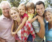 Portrait multi-generation family outdoors